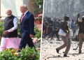Left: Indian Prime Minister Narendra Modi and U.S. President Donald Trump arrive at Hyderabad House in New Delhi on Feb. 25. Right: Police try to stop protesters during violent clashes between at Jaffarabad in New Delhi on Feb. 24. Mohd Zakir/Raj K Raj/Hindustan Times via Getty Images