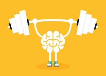 Brain training with weightlifting flat design. Creative idea concept, vector illustration